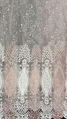 Турецкая тюль вышивка на сетке 180103